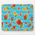 Mexican Inspired Oilcloth - Turquoise Flowers Mousepads