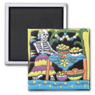 Mexican Katrina Tile Square Magnet