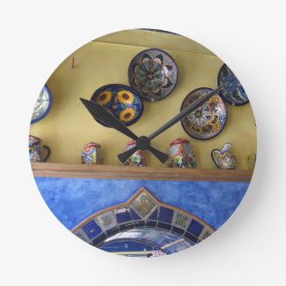 Mexican Kitchen plates and pottery Clock
