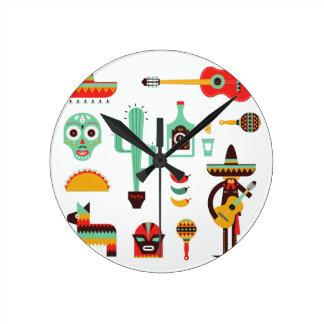 mexican mariachi round clock