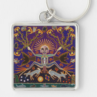 Mexican Mayan Aztec Goddess Ethnic Tribal Art Boho Silver-Colored Square Key Ring