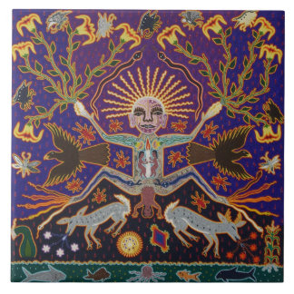 Mexican Mayan Aztec Goddess Ethnic Tribal Art Boho Tile
