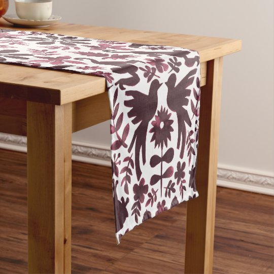 Mexican Otomi Themed Table Runner - Burgundy