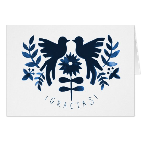 Mexican Otomi Themed Wedding Thank-You Card - Navy