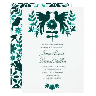 Mexican Otomi Wedding Invitation - Teal
