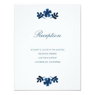 Mexican Otomi Wedding Reception Card - Navy Blue