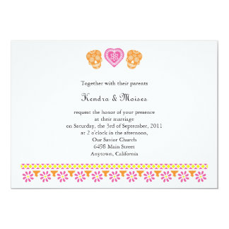 Mexican Papel Picado Skulls Wedding Invite