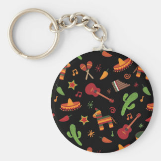 Mexican pattern basic round button key ring