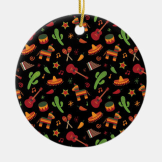 Mexican pattern round ceramic decoration