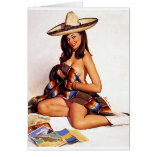 Mexican Pin Up Greeting Card