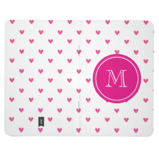 Mexican Pink Glitter Hearts with Monogram Journal