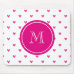 Mexican Pink Glitter Hearts with Monogram Mouse Mats