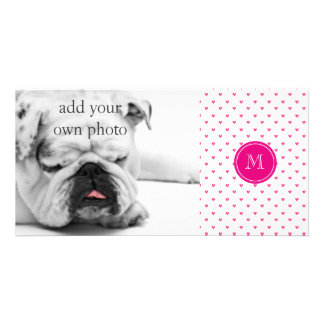 Mexican Pink Glitter Hearts with Monogram Customized Photo Card