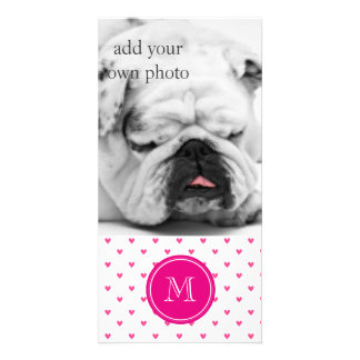 Mexican Pink Glitter Hearts with Monogram Photo Greeting Card