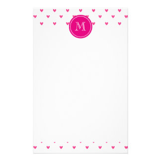 Mexican Pink Glitter Hearts with Monogram Stationery
