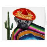 Mexican pug dog big greeting card