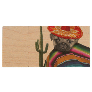 Mexican Pug dog Wood USB 2.0 Flash Drive