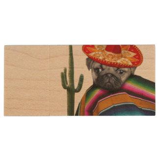 Mexican Pug dog Wood USB Flash Drive