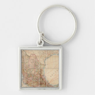 Mexican Railroad Silver-Colored Square Key Ring