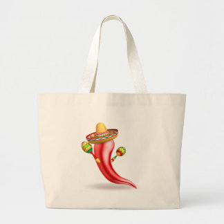 Mexican Red Chilli Pepper Character Large Tote Bag