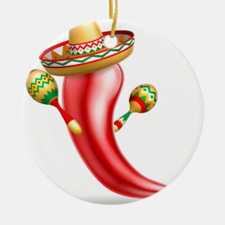 Mexican Red Chilli Pepper Character Round Ceramic Decoration