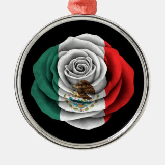 Mexican Rose Flag on Black Silver-Colored Round Decoration