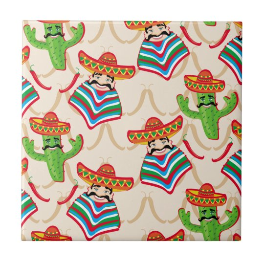 Mexican siesta small square tile