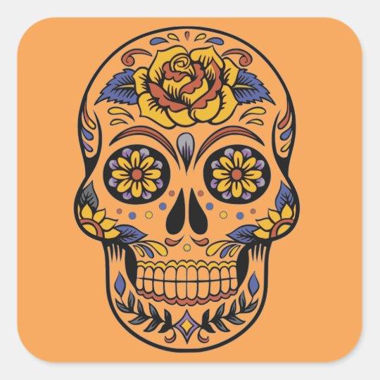 Mexican skull day of the dead square sticker