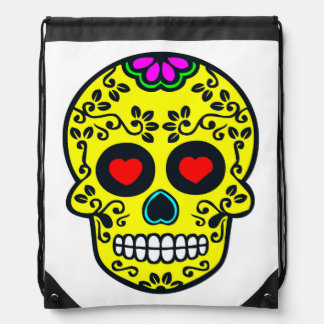 mexican skull Drawstring Backpack