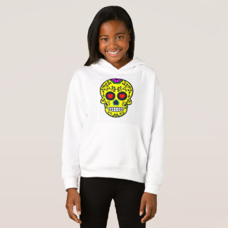 mexican skull Girls' Fleece Pullover Hoodie, White