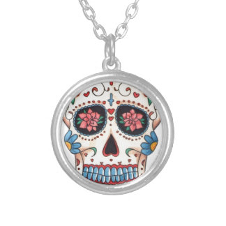 Mexican skull round pendant necklace