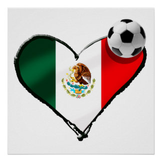 Mexican soccer love flag of Mexico heart gifts Poster