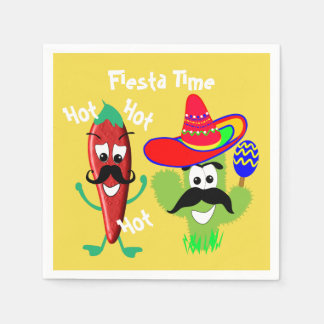Mexican Sombrero Cactus Chilli Pepper Fiesta Party Disposable Serviette