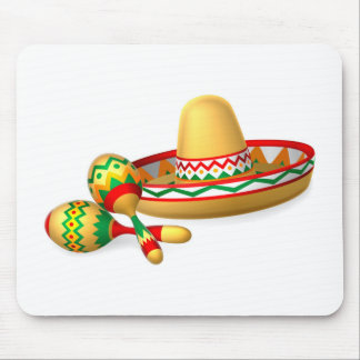 Mexican Sombrero Hat and Maracas Shakers Mouse Pad