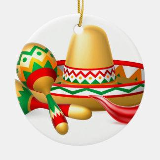 Mexican Sombrero Maracas and Chilli Pepper Round Ceramic Decoration
