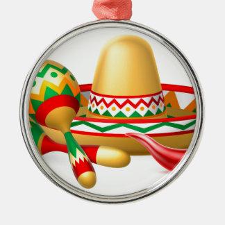 Mexican Sombrero Maracas and Chilli Pepper Silver-Colored Round Decoration