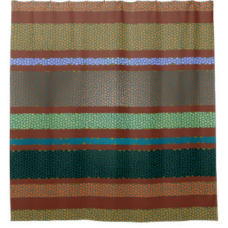 Mexican South Western Stripe and Tile Pattern Shower Curtain
