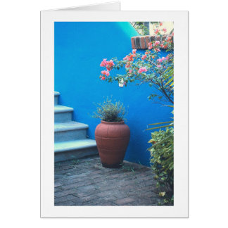 """""""Mexican Still Life"""" (Vase, Blue Wall, Staircase) Greeting Card"""
