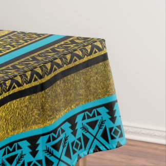 Mexican Style pattern - black, teal and gold Tablecloth