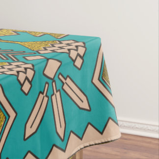 Mexican Style pattern - teal, gold and earthy colo Tablecloth