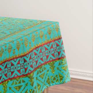 Mexican Style pattern - teal, gold and red glitter Tablecloth