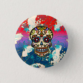 Mexican Sugar Skull, Day of the Dead, Ornaments 3 Cm Round Badge