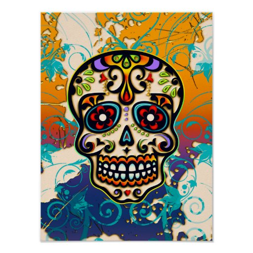 Mexican Sugar Skull, Day of the Dead Poster