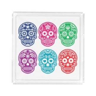 Mexican Sugar Skull, Dia De Los Muertos Colorful Acrylic Tray