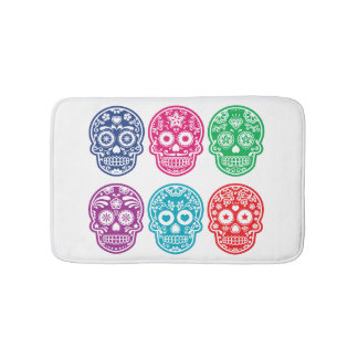Mexican Sugar Skull, Dia De Los Muertos Colorful Bath Mat