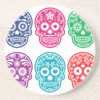 Mexican Sugar Skull, Dia De Los Muertos Colorful Drink Coasters
