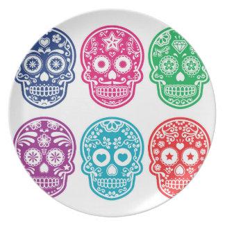 Mexican Sugar Skull, Dia De Los Muertos Colorful Plate