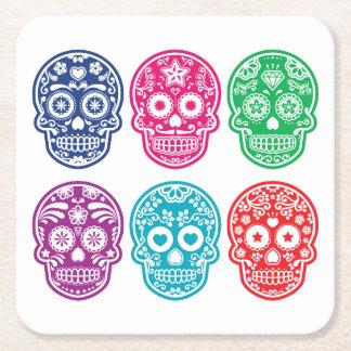 Mexican Sugar Skull, Dia De Los Muertos Colorful Square Paper Coaster