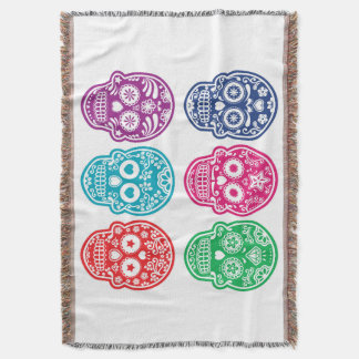 Mexican Sugar Skull, Dia De Los Muertos Colorful Throw Blanket