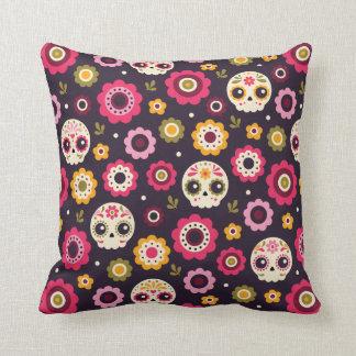 Mexican Sugar Skull Floral Pattern Cushion